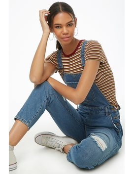 Distressed Knee Denim Overalls by Forever 21