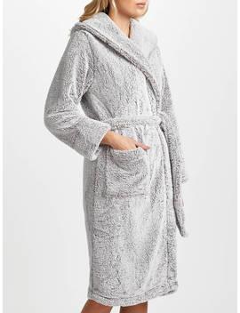 John Lewis & Partners Hi Pile Fleece Robe, Grey by John Lewis & Partners