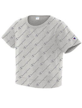 Cotton Cropped Logo T Shirt by Champion