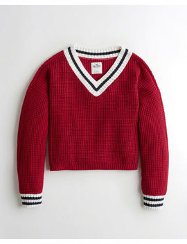 tipped-v-neck-sweater by hollister