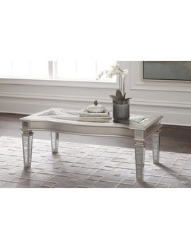 Ashley Furniture Tessani Silver Finish Coffee Table With Mirrored Glass Accents by Ashley Furniture