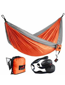 Honest Outfitters Double Camping Hammock With Hammock Tree Straps,Portable Parachute Nylon Hammock For Backpacking Travel 118 L X 78 W Inches Orange/Grey by Honest Outfitters