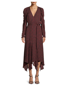 Tianna Snake Print Long Sleeve Wrap Dress by A.L.C.