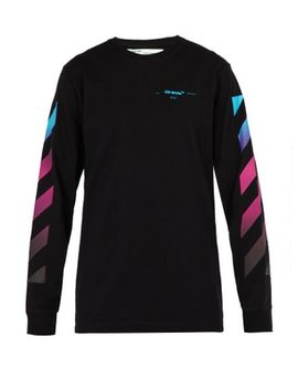 Diagonal Gradient Long Sleeved Cotton T Shirt by Off White