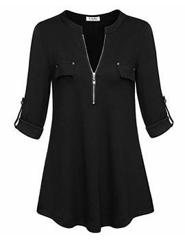 Ya Ya Bay Women's Notch V Neck Long Sleeve Roll Up Sleeve Zip Up Casual Shirt Blouse Tops by Ya Ya Bay