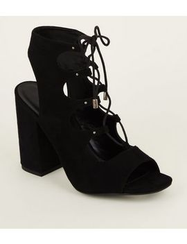 Black Suedette Peep Toe Ghillie Lace Up Sandals by New Look