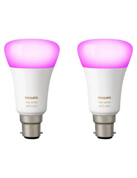Philips Hue White And Colour Ambiance Wireless Lighting Led Colour Changing Light Bulb, 9 W B22 Bayonet Cap, Pack Of 2 by Philips