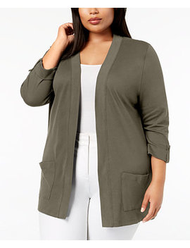 Plus Size Cotton 3/4 Sleeve Cardigan, Created For Macy's by Karen Scott