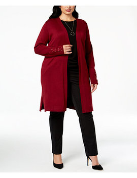 Plus Size Lace Up Cuff Duster Cardigan, Created For Macy's by Jm Collection