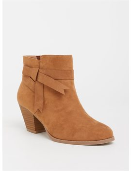 Brown Faux Suede Stacked Bootie (Wide Width) by Torrid