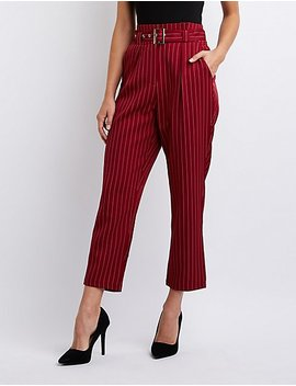 Pinstripe Paperbag Trousers by Charlotte Russe