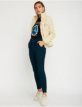 O Ring Pleated Trousers by Charlotte Russe