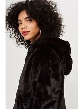 Faux Fur Zip Up Hoodie by Topshop