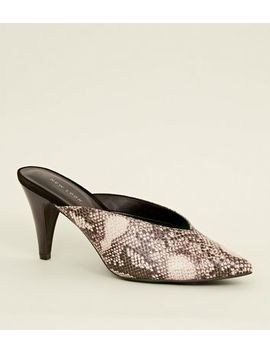 Black Faux Snakeskin Cone Heel Mules by New Look
