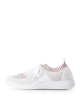 Qupid Colored Knit Lace Up Sneakers by Charlotte Russe