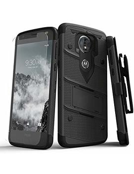 Zizo Bolt Series Compatible With Motorola Moto E5 Cruise Case Military Grade Drop Tested With Tempered Glass Screen Protector Holster E5 Play Black by Zizo