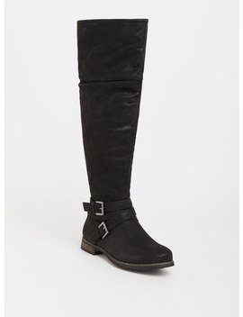 Black Slouchy Over The Knee Boot (Wide Width) by Torrid