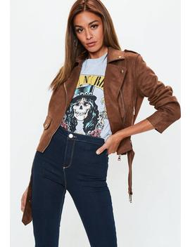 Chocolate Brown Suedette Raw Edge Biker Jacket by Missguided