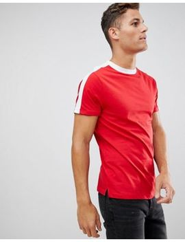 New Look T Shirt With Arm Stripe In Red by New Look