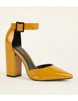 Mustard Patent Buckle Ankle Strap Block Heels by New Look