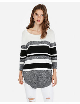 Stripe Extreme Circle Hem Sweater by Express