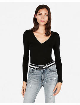 Ribbed V Neck Sweater by Express