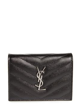Monogram Quilted Leather Card Case by Saint Laurent