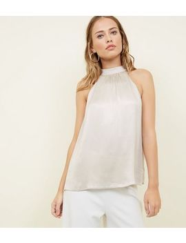 Silver Metallic Halterneck Top by New Look