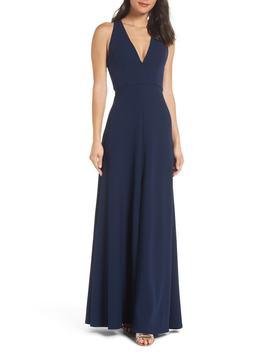 Margot V Neck Knit Crepe Gown by Jenny Yoo