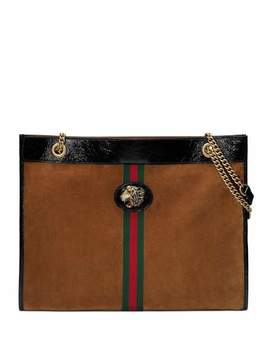 Linea Tiger Large Suede Shoulder Tote Bag With Patent Trim by Gucci