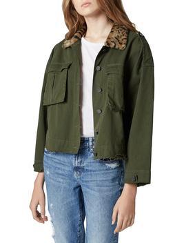 Leopard Faux Fur Collar Crop Jacket by Blanknyc