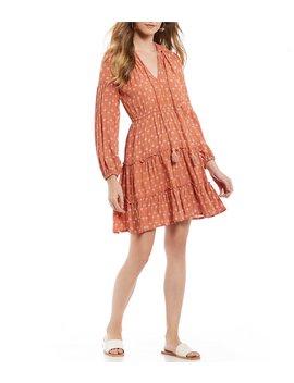 Bali Long Sleeve Printed Smocked Waist Western Dress by Beachgold