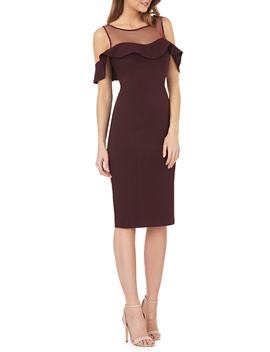 Illusion Neck Ruffle Sleeve Cocktail Dress by Js Collections
