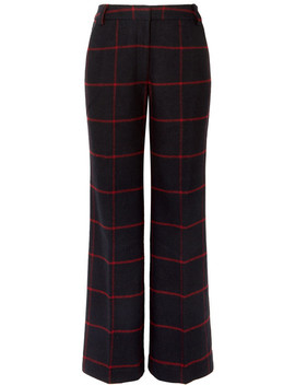 Checked Woven Wide Leg Pants by Self Portrait