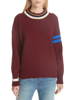 Rooska Stripe Crewneck Wool Sweater by &Daughter