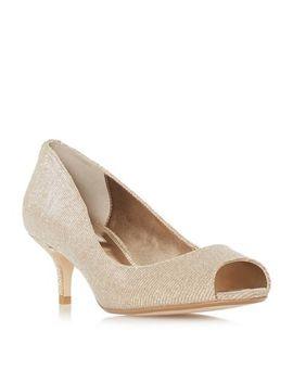 Dune   Gold 'cherrie' Mid Kitten Heel Court Shoes by Dune