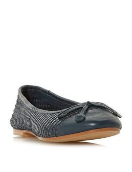 Dune   Navy Leather 'hennah' Ballet Pumps by Dune