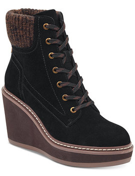 Solenne Lace Up Platform Wedge Booties by Tommy Hilfiger