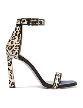 Square Nudist Leather Trimmed Leopard Print Calf Hair Sandals by Stuart Weitzman