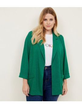 Curves Green Cross Hatch Blazer by New Look