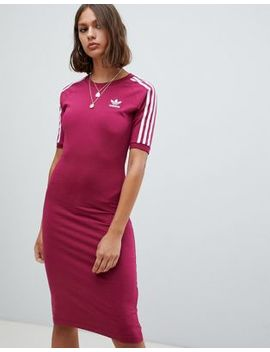 Adidas Originals Three Stripe Midi Dress In Ruby by Adidas
