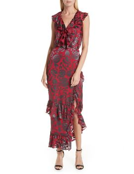 Anita Ruffle Trim Silk Burnout Dress by Saloni