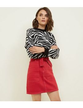 Red Tie Waist Contrast Stitch  Denim Skirt by New Look
