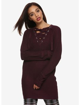 Plum Lace Up Heavy Knit Girls Tunic Sweater by Hot Topic