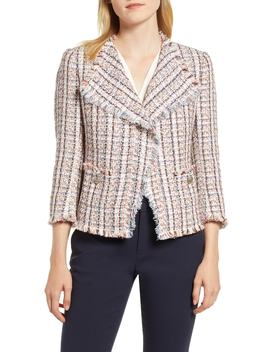 Cotton Blend Tweed Fringe Jacket by Anne Klein