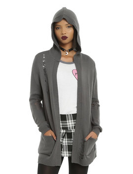 Grey Deconstructed Girls Flyaway Hooded Cardigan by Hot Topic