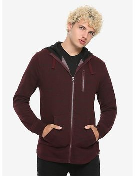 Burgundy Zip Front &Amp; Sides Hoodie by Hot Topic