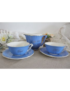 Pair Of Vintage French Blue Ironstone Teacups With Creamer   Toi & Moi   Nous Deux by Etsy