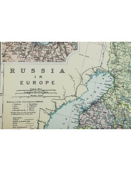 Large 1913 Bacons Antique Map, Folding Colour Map, Russia In Europe, Baltic States, Finland by Etsy