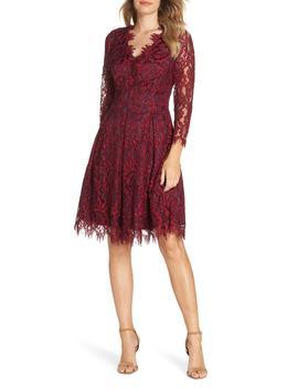 Lace V Neck Fit & Flare Dress by Eliza J